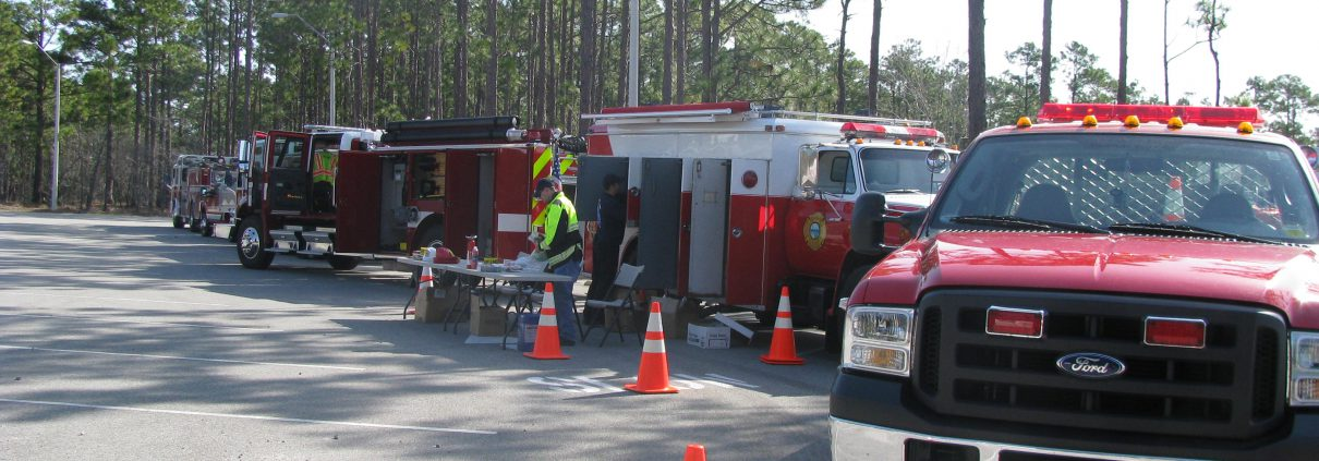 fire truck line-up at Fire in the Pines